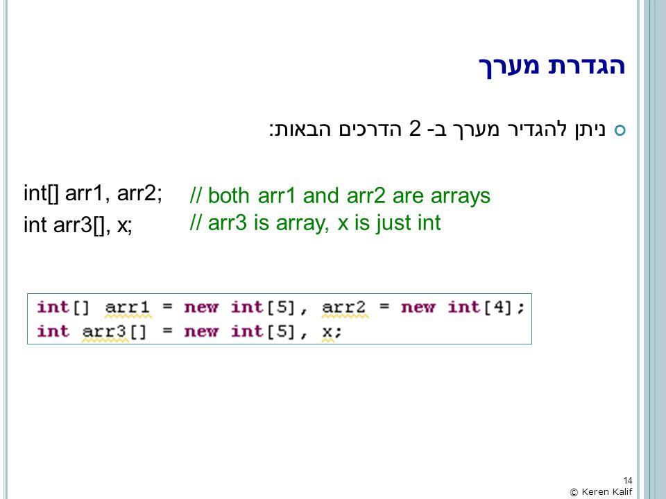 הגדרת מערך ניתן להגדיר מערך ב- 2 הדרכים הבאות: int[] arr1, arr2;